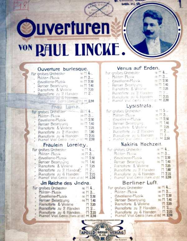 Ouverturen von Paul Lincke - Ouverture zu der Operette: Nakiris Hochzeit - Pianoforte zu 2 Händen (Klaviernoten - Operettenmusik)