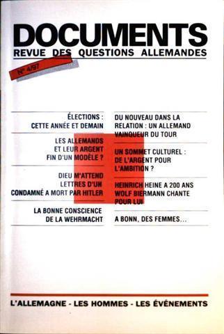 Documents revue des Questions allemandes Nr. 4/97 - Èlections: Cete Annèe Et Demain, Les Allemand Et Leur Argent Fin D