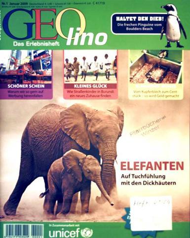 Geolino, Das Erlebnisheft Nr. 1, Januar 2009 - Elefanten, Auf Tuchfühlung mit den Dickhäutern