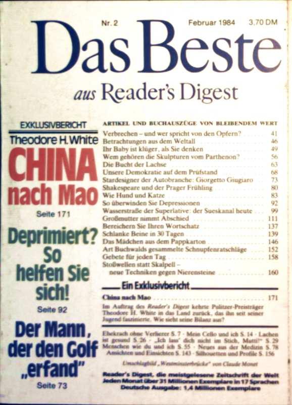 Das Beste aus Readers Digest, 1984, Nr. 02 Februar- China nach Mao