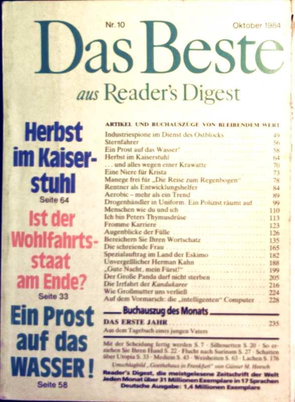 Das Beste aus Readers Digest, 1984, Nr. 10 Oktober - ist der Wohlfahrtsstaat am Ende