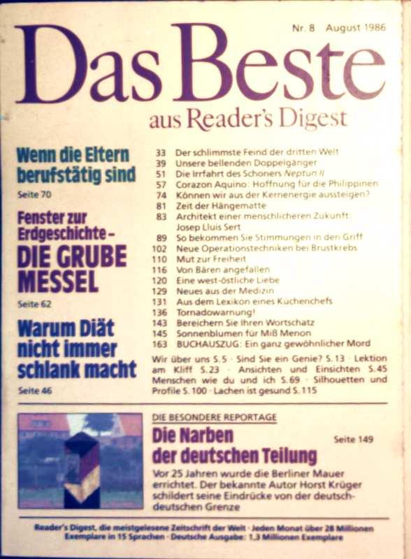 Das Beste aus Readers Digest, 1986, Nr. 08 August - die Narben der deutschen Teilung