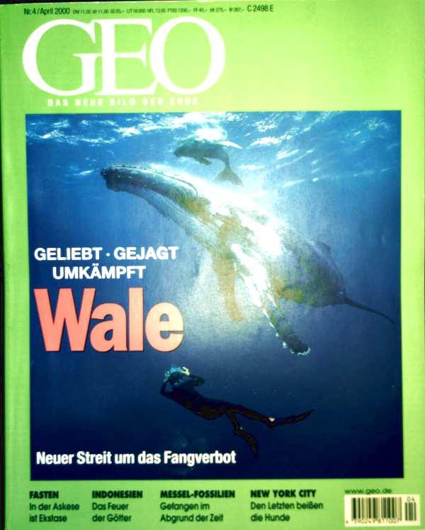 GEO Magazin 2000, Nr. 04 April - Wale: geliebt - gejagt - umkämpft, Indonesische Vulkane, Zirkus, Mumien, Fasten, Illegale Einwanderer in New York, Messel-Fossilien, Tunnel-Bohrer