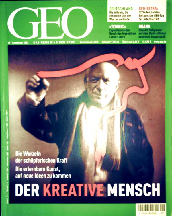 Zeitschrift, Magazin, Das neue Bild der Erde - Peter-Matthias Gaede: GEO Magazin 2003, Nr. 09 September - der kreative Mensch: die Wurzeln der schöpferischen Kraft - die erlernbare Kunst auf neue Ideen zu kommen