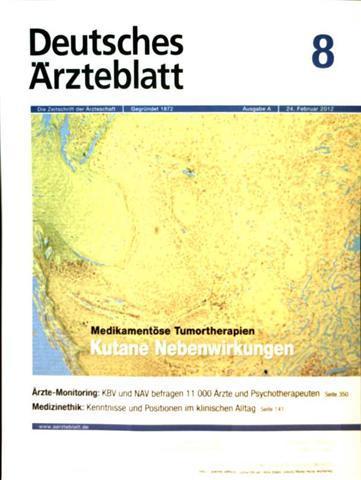 Deutsches Ärzteblatt 2012,  Nr. 08 Ausgabe A - medikamentöse Tumortherapien: kultane Nebenwirkungen