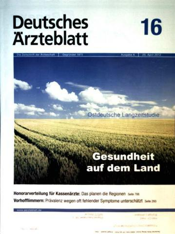 Deutsches Ärzteblatt 2012,  Nr. 16  Ausgabe A - Gesundheit auf dem Land,  Vorhofflimmern: Prävalenz wegen oft fehlender Symptome unterschätzt