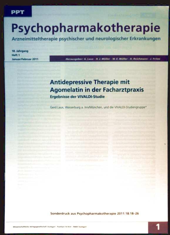 Psychopharmakotherapie, Arzneimitteltherapie psychischer und neurologischer Erkrankungen, Januar/Februar 2011 Heft 1 - Antideprssive Therapie mit Agomelatin, Ergebnisse der VIVALDI-Studie