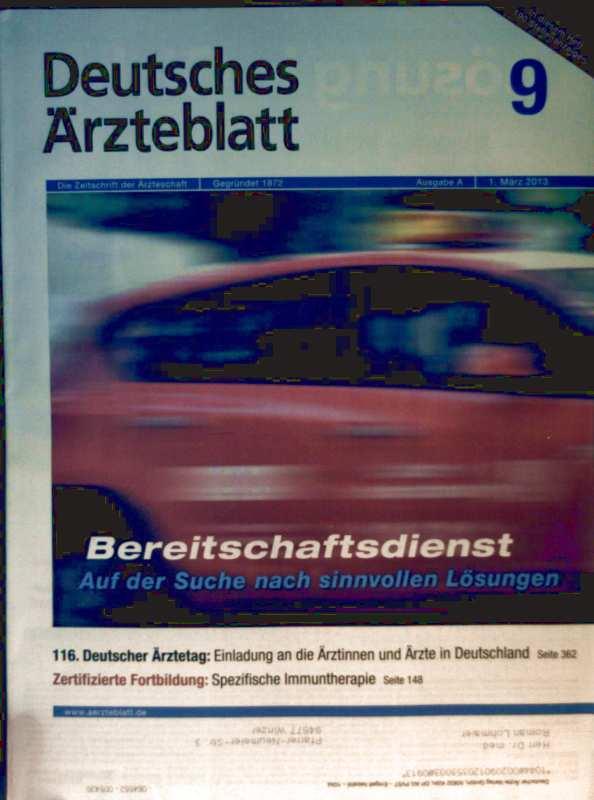 Deutsches Ärzteblatt, 01. März 2013, Nr. 9 - Bereitschaftsdienst: auf der Suche nach sinnvollen Lösungen, Spezifische Immuntherapie