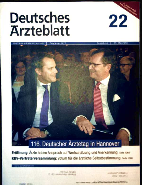 Deutsches Ärzteblatt, 31. Mai 2013 Nr. 22 - chronische Pancreatitis Definition Ätiologie, Thermoablation maligner Lungentumoren
