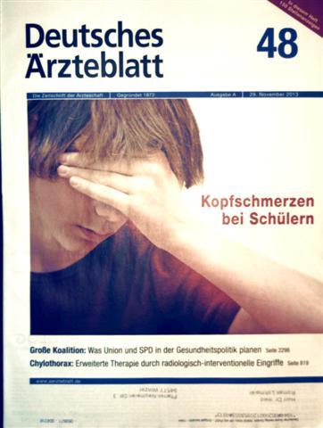 Deutsches Ärzteblatt, 29.  November 3013  Nr, 48 - Kopfschmerzen bei Schülern, Chylotharax - erweiterte Therapie durch radiologisch-interventionelle Eingriffe