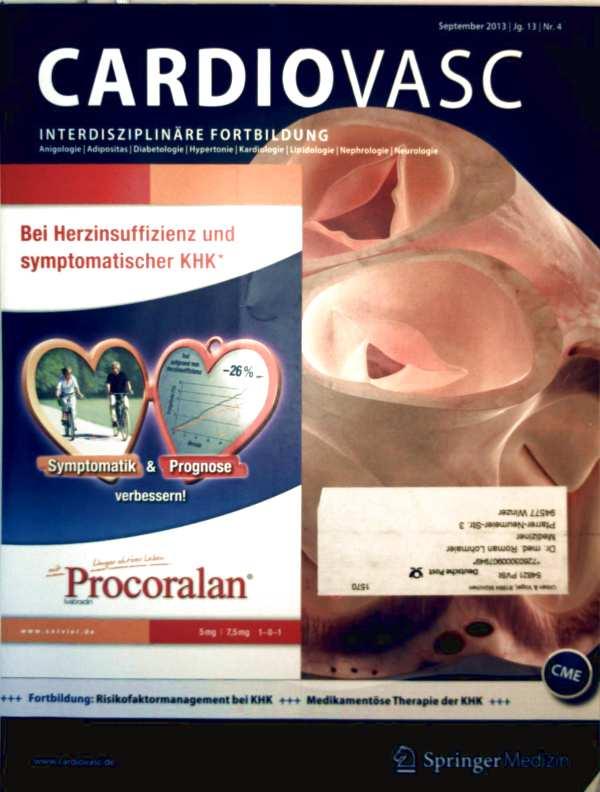 Dirk Einecke (Red.): Cardiovasc, Jg. 13 Nr. 4, September 2013 - Schwerpunkt Kardiologie, neue europäische Hochdruck-Leitlinien, Atherosklerose, Risikofaktormanagement bei KHK und Therapie