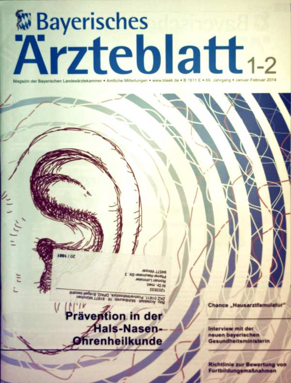 Bayerisches Ärzteblatt Januar-Februar 2014, Nr. 01-02,  - Prävention in der Hals-Nasen-Ohrenheilkunde