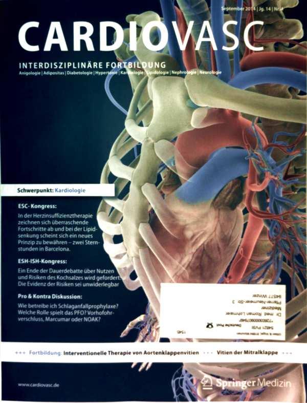 Dirk Einecke (Red.): Cardiovasc, Jg. 14 Nr. 04, September 2014 - Interventionelle Therapie v. Aaortenklappenviten, wie betreibe ich Schlaganfallprophylaxe?, welche Rolle spielt d. PFO, Vorhofohrverschloss, Marcumar, NOAK?