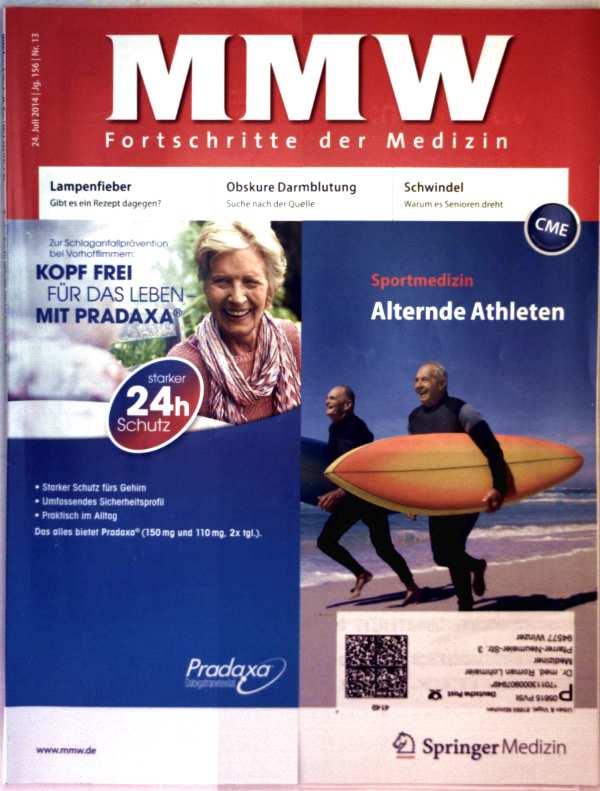 MMW Fortschritte der Medizin, Juli 2014 Nr. 13 -  Sportmedizin: alternde Athleten, Lampenfieber: gibt es ein Rezept dagegen, obskure Darmblutung, Schwindel: warum es Senioren dreht