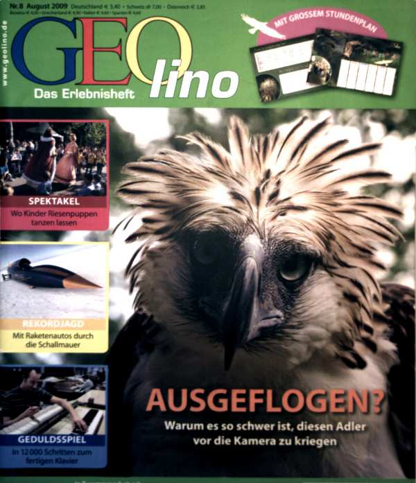 Geolino, das Erlebnisheft Nr. 8, August 2009 - Ausgeflogen: warum es so schwer ist diesen Adler vor die Kamera zu kriegen, mit Raketenautos durch d. Schallmauer, 12.000 Schritte zum fertigen Klavier