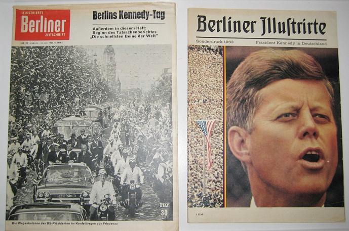 2 Ausgaben: Illustrierte Berliner Zeitschrift. Nr. 28, 13. Juli 1963. Berlins Kennedy-Tag. / Berliner Illustrierte. Sonderdruck 1963: Präsident Kennedy in Deutschland.