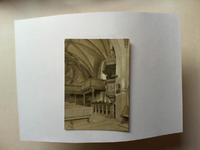 Inneres der Christophorikirche [schwarz-weiß-Postkarte]. Nach einem Original von Dr. Wilhelm Korn. Zu seinem Gedächtnis gestiftet für die Erhaltung der Kirche. [Bildunterschrift: W. Korn 1924]