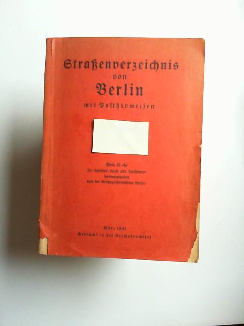 Straßenverzeichnis von Berlin mit Posthinweisen.