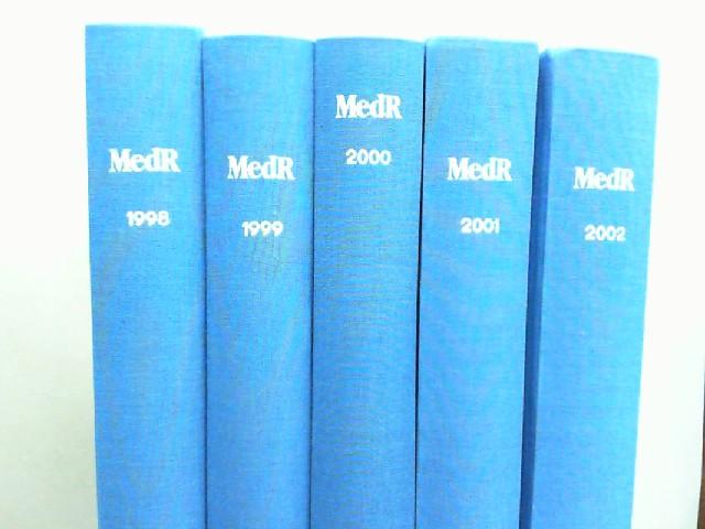 MedR. Medizinrecht - 16. Jahrgang 1998 bis 20. Jahrgang 2002,  (=fünf Jahrgänge vollständig in fünf Bänden.)