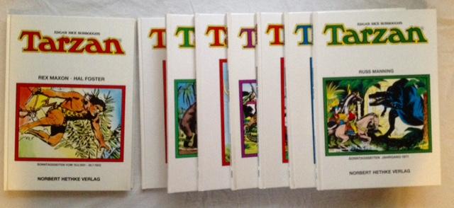 Edgar Rice Burroughs Tarzan. Sammlerausgabe - acht Bände zusammen: 1) Sonntagsseiten vom 15. 3. 1931 - 30. 7. 1933; 2) Sonntagsseiten Jahrgang 1950; 3) Sonntagsseiten Jahrgang 1959; 4) Sonntagsseiten Jahrgang 1963; 5) Sonntagsseiten Jahrgang 1968; 6) Sonntagsseiten Jahrgang 1969; 7) Sonntagsseiten Jahrgang 1970; 8) Sonntagsseiten Jahrgang 1971.