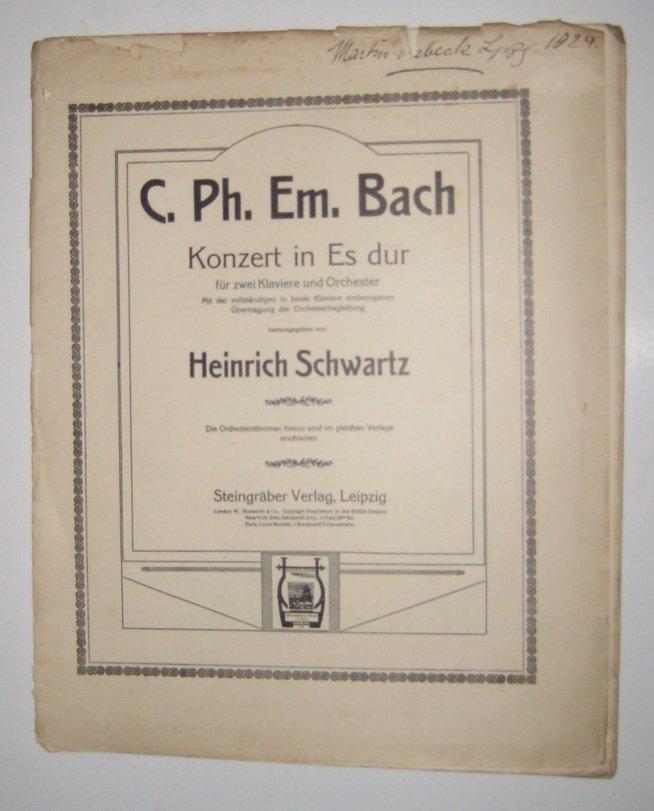 Konzert in Es dur für zwei Klaviere und Orchester. Mit der vollständigen in beide Klaviere einbezogenen Übertragung der Orchesterbegleitung. Aufl.: o.A.