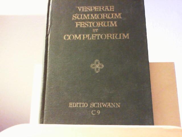 Vesperae summorum festorum et completorium - notis musicis juxta novum antiphonale additis. Lateinisch mit Noten. Inhalt: in principio vesperarum. In nativitate domini. In epiphania domini. In ascensione domini. In festo pentecostes. in festo immaculatae conceptions B.M.V., 8. Dec. In festo omnium sanctorum, 1. Nov. Vesperae defunctorum. Completorium. u.a.m. No. 2071.