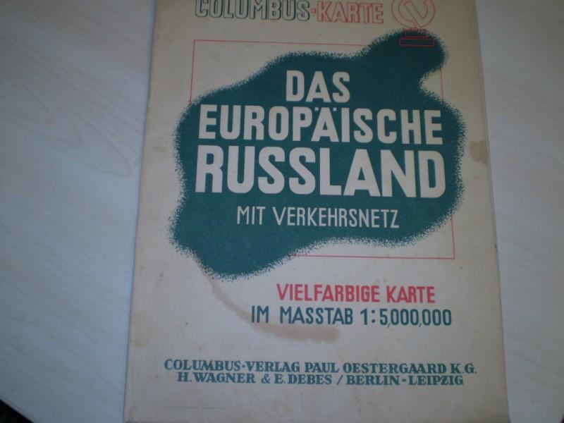 Das europäische Russland. Mit Verkehrsnetz. Vierfarbige Karte im Masstab 1:5000000.