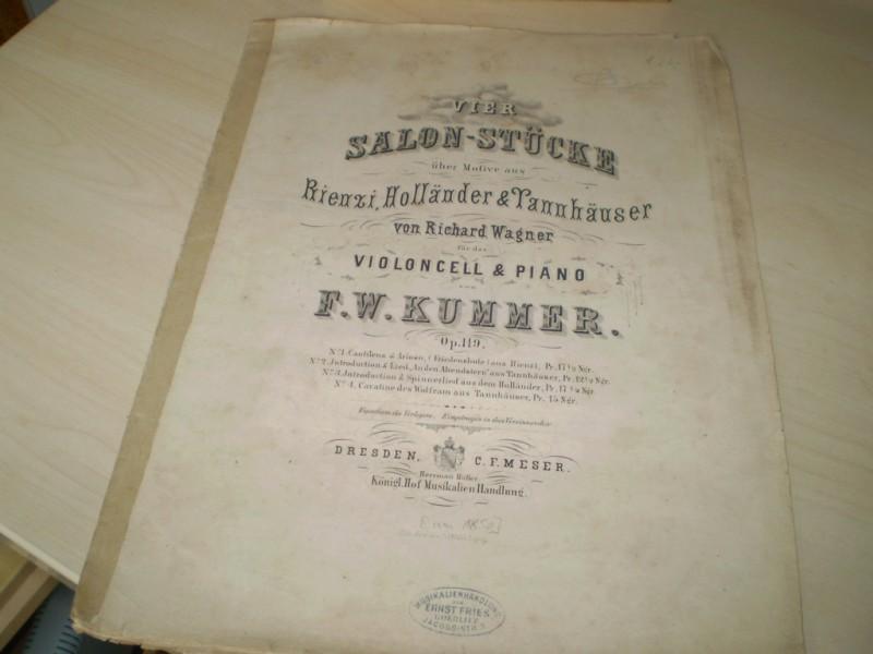 Opus 119: Vier Salon-Stücke über Motive aus Rienzi, Holländer & Tannhäuser von Richard Wagner. Nur Teil 1: Cantilena & Arioso, (Friedensbote) aus Rienzi. EA (?).