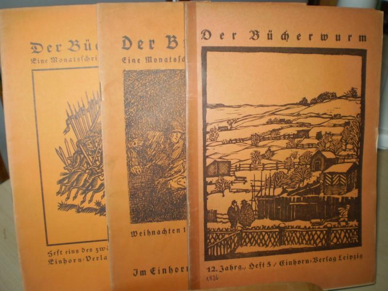 DER BÜCHERWURM. Eine Zeitschrift für Bücherfreunde. 12. Jahrgang; Heft 1,3,5.