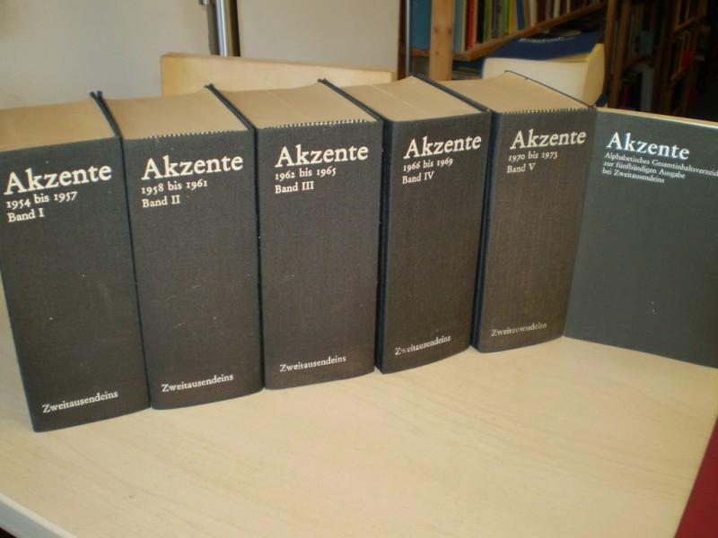 AKZENTE. Zeitschrift für Dichtung. 1954 - 1973. 5 Büchern sowie einem alphabetischen Gesamtinhaltsverzeichnis.