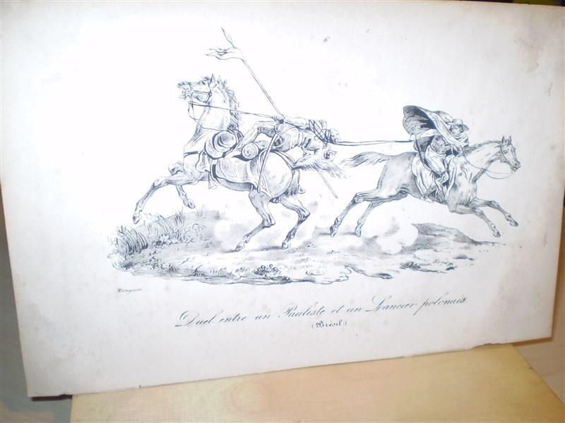 Duel entre un Pauliste et un Spancier polonais. Original-Lithographie. Entnommen: Souvenirs d