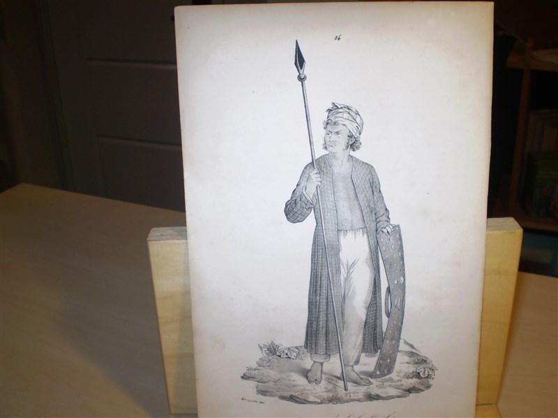 Guerrier de l ile Guébé . Original-Lithographie. Entnommen: Souvenirs d