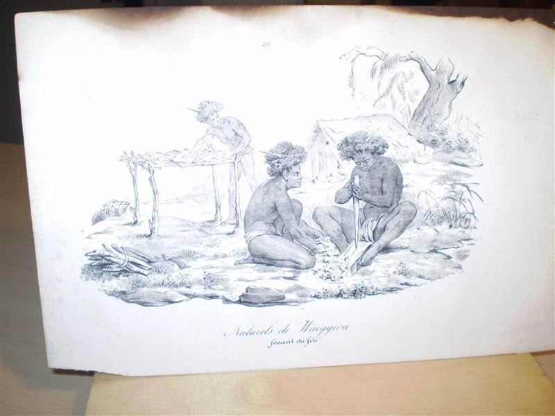 Naturels de Waiggiou Original-Lithographie. Entnommen: Souvenirs d