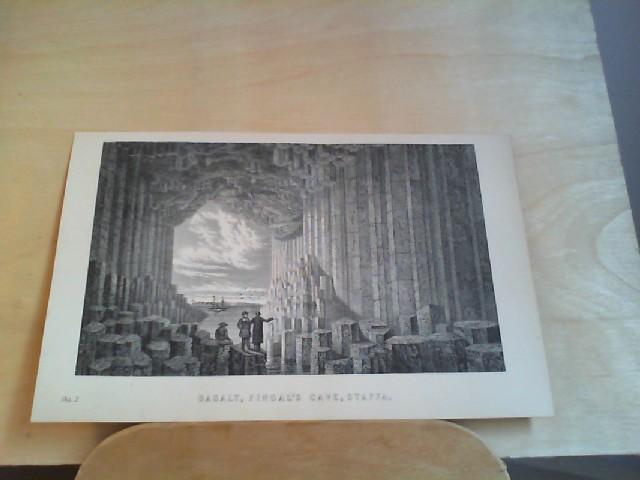Grafik - BASALT, Fingal's Cave, Staffa. 1 Grafik-Holzschnitt, aus
