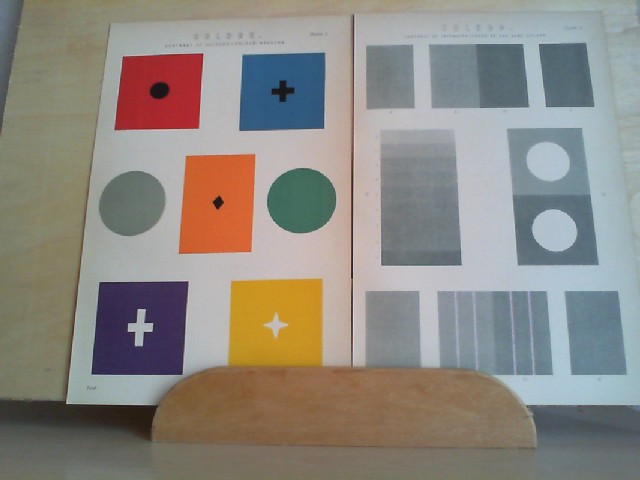 """Grafik - COLOUR. Contrat of Colours-Colour Spectra, Contrast of Intensiv-Tones of the same Coulour. coloriert. 2 Grafik-Holzschnitt, aus """"The National Encyclopaedia: A Dictionary of Universal. Knowledge"""""""