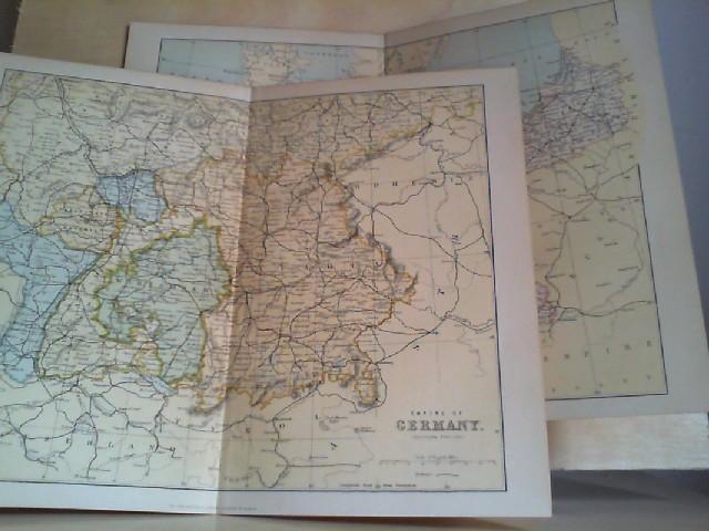 Grafik - Landkarte EMPIRE OF GERMANY (Northern Portion; Southern Portion), coloriert: 2 Grafiken-Landkarte aus