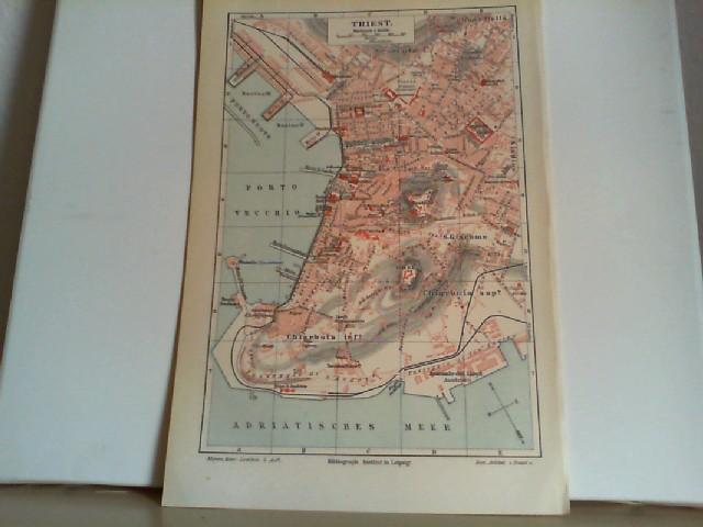 Triest. Maßstab 1 : 16 000. Eine Lithographierte,  einseitige, farbige Karte. Aus Meyers Konversationslexikon 1897. 5. Auflage