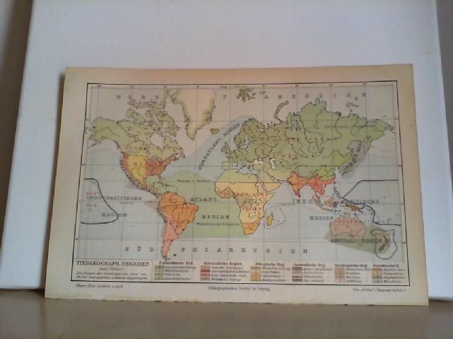 Tiergeographische Regionen.  Eine Lithographierte,  einseitige, farbige Karte. Aus Meyers Konversationslexikon 1897. 5. Auflage