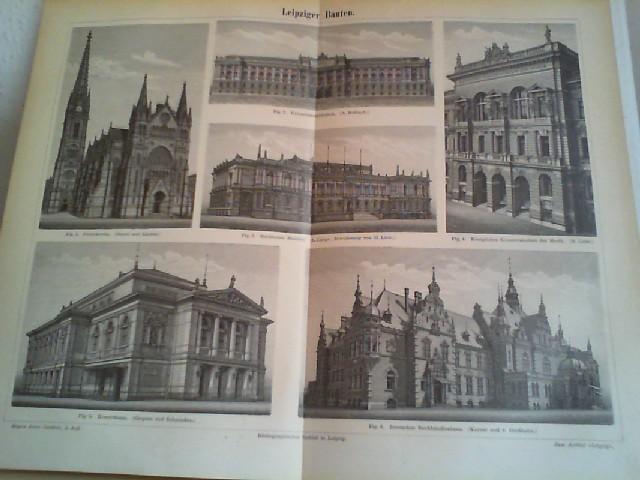 Leipziger Bauten.  1 Lithographierte, s/w, zweiseitige Graphik. Aus Meyers Konversationslexikon 1897. 5. Auflage