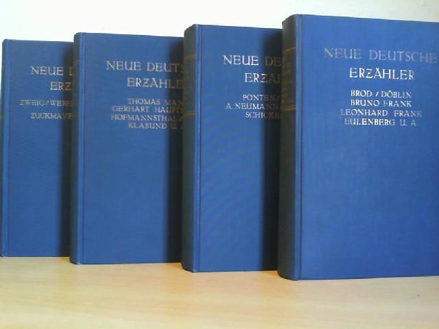 NEUE DEUTSCHE ERZAEHLER. 4 Bände. Beiträge von M. Brod, A. Döblin, L. Frank, O. Baum, O. Flake, O. M. Graf, Th. Mann, Hofmannsthal, Ric. Huch, Klabund, H. Hesse, F. Kafka, H. Mann, G. Meyrink, R. Schickele, St. Zweig, J. Wassermann, C. Zuckmayer.