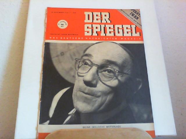 Der Spiegel. 22.11.1950. 4. Jahrgang. Nr. 47. Das deutsche Nachrichtenmagazin. Titelgeschichte: Deine seelische Wetterlage. Sterndeuter Rudolph.