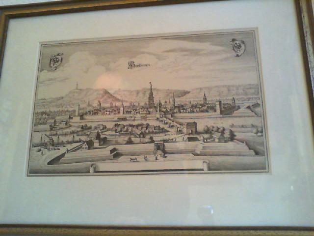 HEYLBRONN (Heilbronn). Antike Ansicht von Heilbronn am Neckar, Baden-Württemberg. Gedruckt bei M. Merian im Jahre 1643 in Frankfurt.