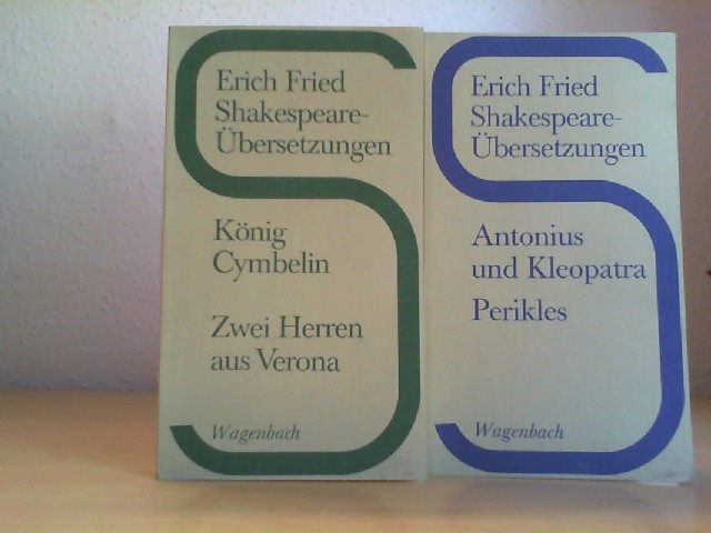 Shakespeare-Übersetzungen. König Cymbelin. Zwei Herren aus Verona. UND: Antonius und Kleopatra; Perikles. 2 Bände. 1. bis 4. Tausend.