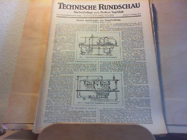 Technische Rundschau. Wochenbeilage zum Berliner Tageblatt. Titelthema: Neuere Anordnung von Dampfturbinen. 22. Jahrgang. Nr. 6. 11. Februar 1916.