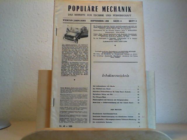 Populäre Mechanik. Allgemeinverständliche Monatsschrift. September 1959. 4. Jahrgang. Band 9, Heft 3, Nr. 48. Herausgegeber der deutschen Ausgabe: Adrien Albarranc.