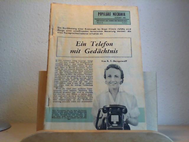 Populäre Mechanik. Das Neueste aus Technik und Wissenschaft. August 1959. 4. Jahrgang. Band 9,  Heft 2, Nr. 47. Herausgegeber der deutschen Ausgabe: Adrien Albarranc.