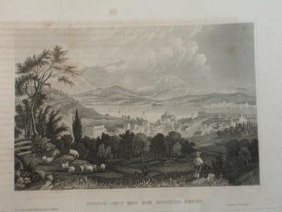 Hudson-City und die Catskill Berge.
