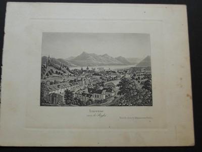 Lucerne vers le Rhigi. Aquatinta-Radierung von R. Dikenmann.
