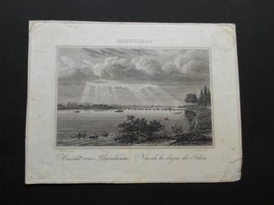 Mannheim. Ansicht vom Rheindamm. Vue de la digue du Rhin. Kupferstich von Schnell.