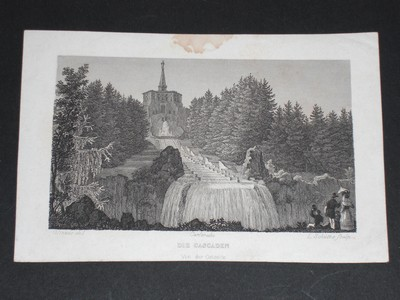 Carslruhe - die Cascaden von der Ostseite. Stahlstich von L. Schütze nach Glinzer um 1830.